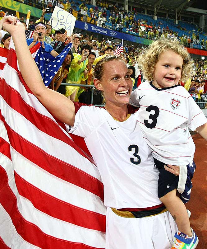 A defender for the U.S. national team, Christie Rampone gave birth to daughter, Rylie, in 2005.