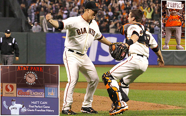 Cain threw the 22nd perfect game in major league history and first for the Giants. He tied the record for most strikeouts in a perfect game (held by Sandy Koufax) by punching out a career-high 14. Cain, who threw 125 pitches, also got help from outfielders Melky Cabrera and Gregor Blanco, who made feat-saving catches.
