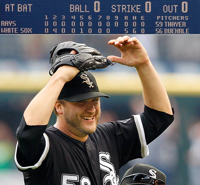 Buehrle, who struck out six, received significant help from center fielder Dewayne Wise, who made a tremendous leaping catch to deprive Gabe Kapler of a ninth-inning home run and save the gem. After the game, he received a congratulatory phone call from President Barack Obama, whose support of the White Sox is well-known.