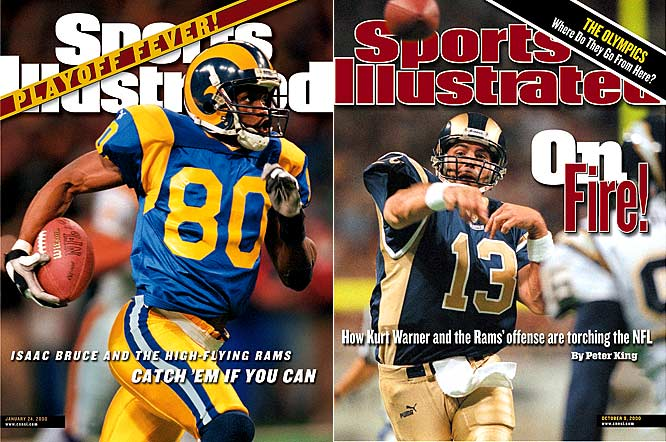 The Greatest Show on Turf is the name given to the St. Louis Rams explosive offense from 1999 to 2001. Designed by Offensive Coordinator Mike Martz and powered by qurterback Kurt Warner, running back Marshall Faulk, and wide receivers Torre Holt and Isaac Bruce, the Rams' field-stretching attack led the league in scoring for two seasons. St. Louis set NFL records for most passing and total yards gained in a season (5,232 and 7,075 in 2000) and went to two Super Bowls during that period (defeating Tennessee in 1999 and losing to New England in 2001).