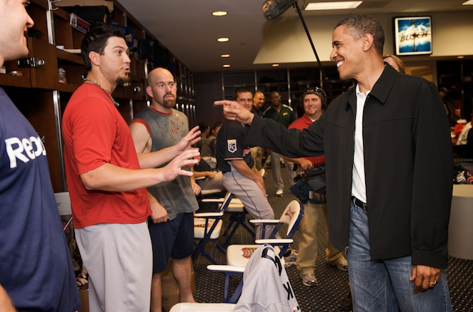 Red Sox pitcher Josh Beckett gets a smile out of the president.