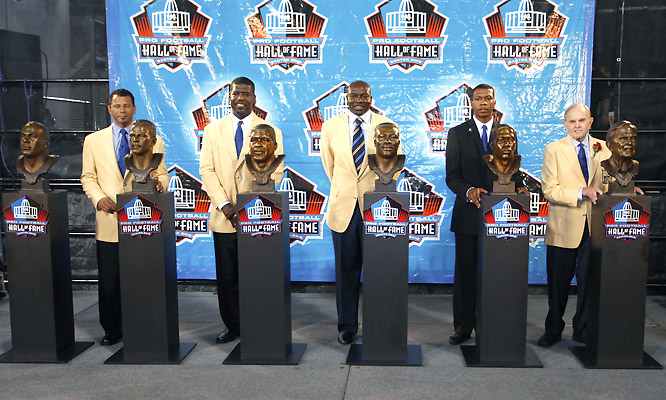Amongst Derrick Thomas (L-R), Rod Woodson, Randall McDaniel, Bruce Smith, Bob Hayes and Ralph Wilson, we're talking about 46 Pro Bowls, 24 All-Pro teams, 12 Super Bowl berths and one Super Bowl victory (Hayes, '71 Cowboys).