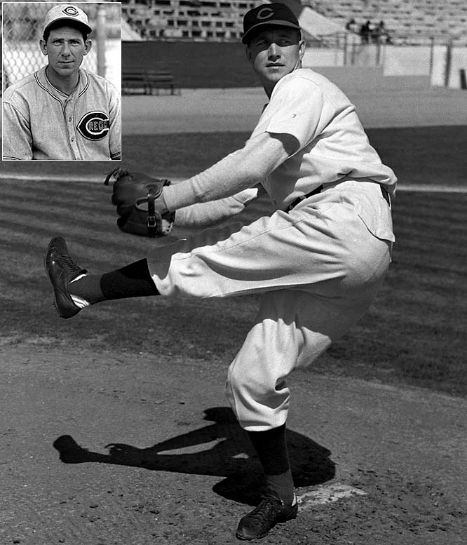 Walters and Derringer (inset) both reached 20 wins in 1939 and 1940, combining to go 94-40 during the two-year span. The duo also won two games apiece in Cincinnati's seven-game triumph over Detroit in the 1940 World Series.