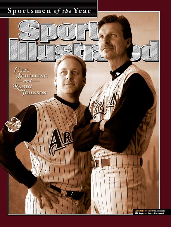 In 2001 and 2002, Schilling and Johnson each won 45 games. In both seasons, Johnson won the NL Cy Young Award and Schilling finished second in the voting. The duo carried the Diamondbacks to a surprising World Series title in 2001, combining to go 9-1 over the three playoff rounds.