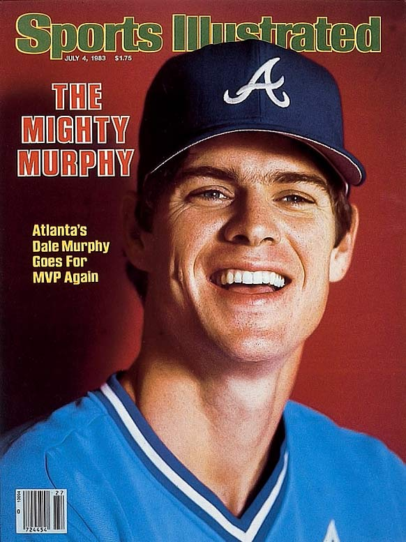 """According to Baseball Alamanac.com, the """"V"""" neck style uniform first made an appearance in baseball in the early part of the 20th century (the Giants started the trend in 1908) and most teams had them by the 1920s. Here, the look is sported by then Brave Dale Murphy."""