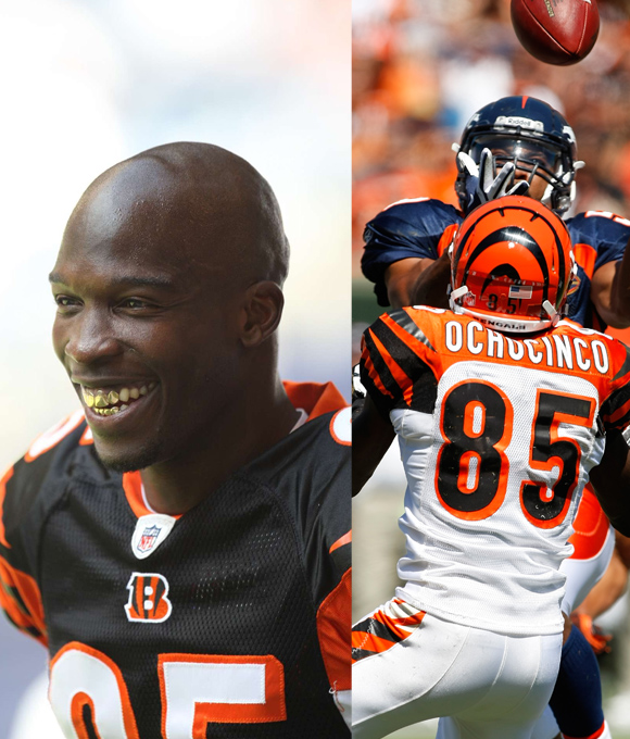"""From sporting a blond Mohawk to keeping a checklist of defensive backs that he burned, Cincinnati's talkative wideout has been no stranger to wacky antics. """"Have I ever had a reason for why I do what I do? I'm having fun,"""" he once said. Last year Number 85 for the Cincinnati Bengals legally changed his last name from Johnson to his nickname, Ochocinco."""
