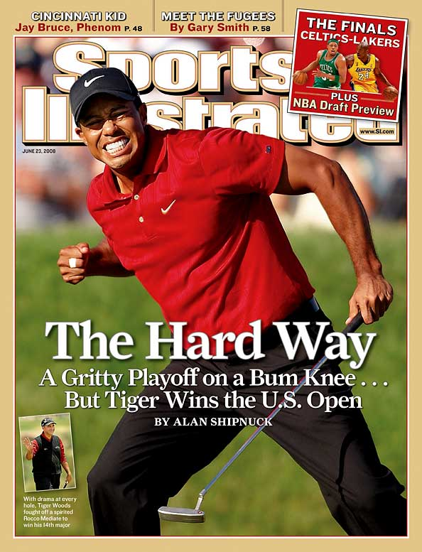Tiger Woods is going to have more huge moments in his career. They likely all will take a backseat to this one. Playing on an injured knee that grew progressively more painful, Woods battled the popular and grooving Rocco Mediate for 72-holes. Then, 90-holes. Woods made a pair of stunningly huge putts along the way. Finally on the 91st hole, Woods put another memory on the mantle for his throng of fans.
