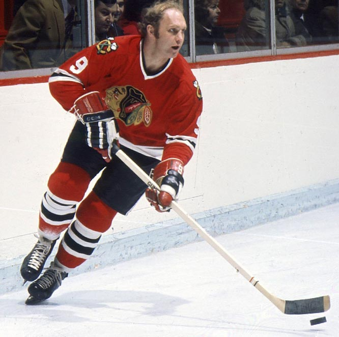 Blessed with blazing speed, power, a booming slap shot, and a head of golden blonde hair, Hull joined the Chicago Blackhawks in 1957 at age 17. He went on to score 50 or more goals for them five times during the next 13 seasons, winning the Stanley Cup in 1961. Fittingly, Hull later played for the Winnipeg Jets of the rival WHA.