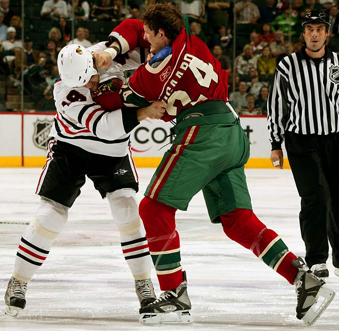 """The Minnesota Wild's enforcer is affectionately known as """"Boogie"""" to his teammates and """"The Boogie Man"""" to those who dread running into him on the ice. A physical confrontation with the hulking, 6-7, 260-pound Boogaard is never pleasant, and he relishes wreaking mayhem and terror wherever he goes."""