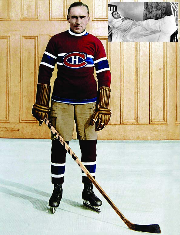 """Also known as """"The Mitchell Meteor"""" after his birthplace (Mitchell, Ontario, Canada), the swift, supremely skilled center was playing for the Stratford (Ontario) Midgets when he caught the eye of the Canadiens, who signed him for the 1923-24 season. During his 14-year career, Morenz became the NHL's first superstar, winning two scoring titles, three MVP awards and three Stanley Cups while earning yet another nickname: The Babe Ruth of Hockey."""