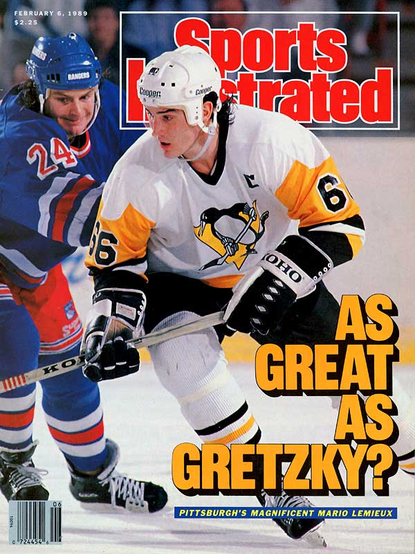 """Making his NHL debut when the popular Super Mario video game was introduced, the top pick in the 1984 NHL Draft earned his nickname while becoming only the third rookie to score 100 points. Lemieux -- which means """"the best"""" in French -- later snapped Wayne Gretzky's seven-year hold on the scoring title and eight-year grip on the Hart Trophy. His 17-season, Hall of Fame career would have been even more super had it not been interrupted by cancer and back injuries."""