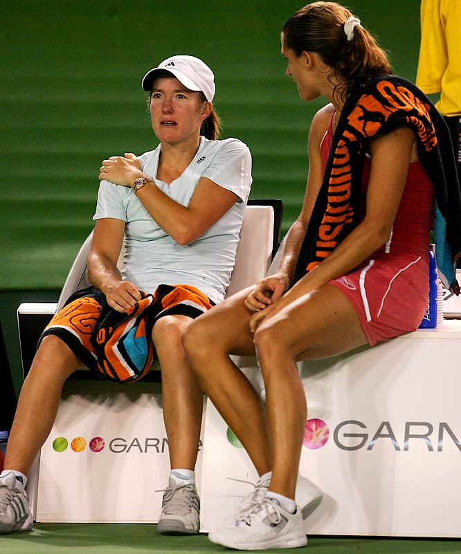 """The most infamous moment of Henin's career came at the 2006 Australian Open final against third-ranked Amelie Mauresmo. Behind 6-1, 2-0, the top seed retired, citing intense stomach pain caused by overuse of anti-inflammatories for a persistent shoulder injury. Many challenged the veracity of her claim, and Mauresmo said it wasn't """"a champion's behavior"""" and acknowledged that the incident affected their friendship. It was the first women's Slam final to end with a retirement in the Open era (since 1968)."""