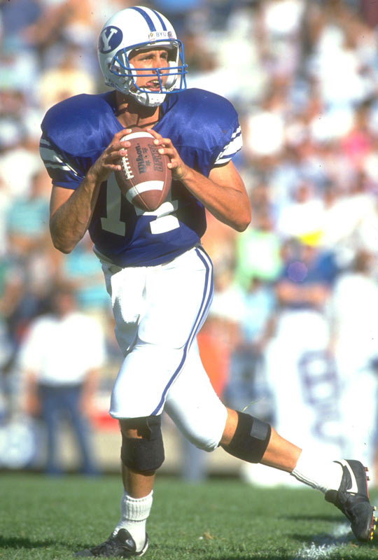 BYU quarterback Ty Detmer sets the NCAA record for most career passing yards (11,606).