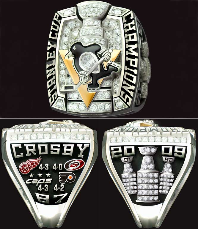 Sidney Crosby's ring is made of 14 karat white and yellow gold with 167 diamonds. The design by Intergold Ltd. of Alberta, Canada with input from team owner Mario Lemieux, general manager Ray Shero and coach Dan Bylsma cites the four teams the Penguins defeated in the 2009 playoffs and the franchise's 1991 and 1992 Stanley Cups.