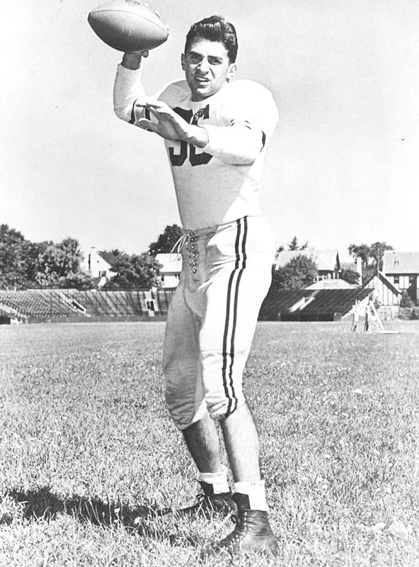 Paterno played quarterback and cornerback at Brown University, guiding the team to a 15-3 record over the 1948 and 1949 seasons.