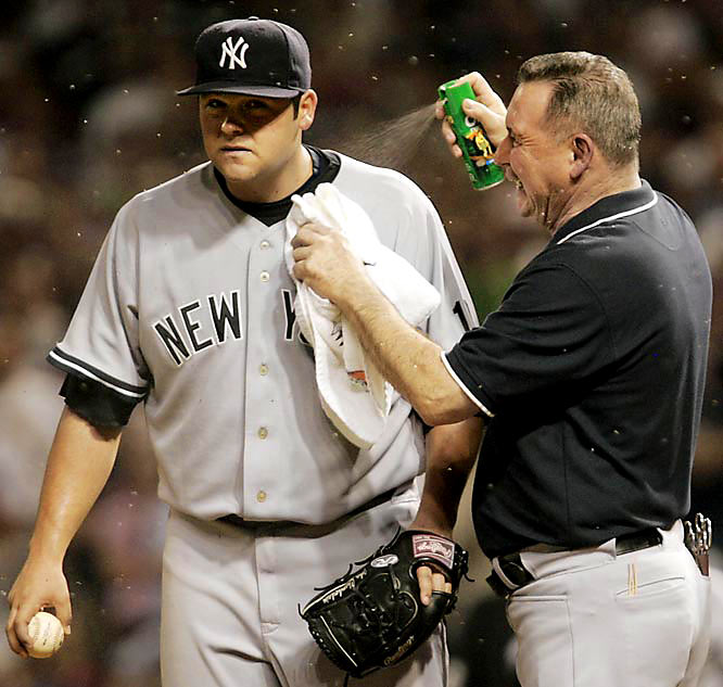Joba Chamberlain had been almost unhittable since his August call-up, but he finally succumbed to a swarm of insects that invaded Cleveland's Jacobs Field in the late innings of Game 2. After snuffing out an Indians rally in the seventh inning, Chamberlain was distracted enough by the bugs in the eighth to allow a walk and two wild pitches that helped the Indians tie the game. Cleveland went on to win 2-1 and finished off the Yankees in Game 4.