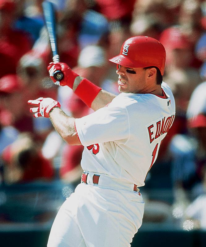 Jim Edmonds ended the Braves' Division Series dominance by hitting .571 with two homers, four doubles and seven RBIs in the Cardinals' three-game sweep.