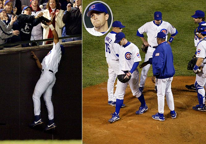 The closest the Cubs have gotten to the World Series since their last appearance in 1945 came in the 2003 NLCS when they held a 3-2 lead in the series and a 3-0 lead in the eighth inning of Game 6. That inning is best remembered for fan Steve Bartman interfering with a catchable foul ball down the left-field line, but the more significant play came later in the inning, with one out and men on first and second, when Cubs shortstop Alex Gonzalez (inset) booted a potential double-play ball off the bat of the Marlins Miguel Cabrera that instead loaded the bases. Derrek Lee followed with a game-tying double off winded starter Mark Prior as the Marlins rallied to win the game and, the next day, the series.