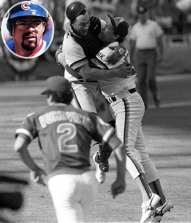 The Cubs held a 3-2 lead on the Padres in the decisive game of the 1984 ALCS when Cubs starter Rick Sutcliffe walked Carmelo Martinez to start the seventh inning. After Martinez was bunted to second, Tim Flannery hit a sharp grounder that shot right through the wickets of first baseman Leon Durham (inset), allowing Martinez to score the tying run. The Padres went on to take the lead, the game and the series.