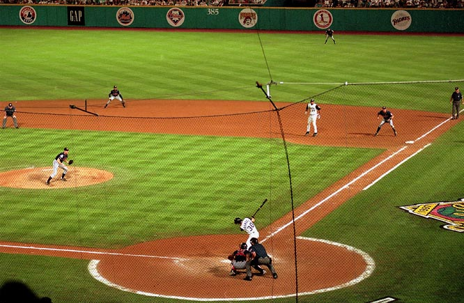 With the decisive seventh game of the 1997 World Series tied 2-2 in the 11th, the Marlins' Bobby Bonilla led off the bottom of the inning against repurposed Indians starter Charles Nagy with a single. After a failed bunt attempt for the first out, Craig Counsell hit a potential inning-ending double-play ball to Tony Fernandez at second base, but Bonilla, on his way to second, screened Fernandez from the ball, resulting in an error that put runners on the corners. Though Bonilla was forced out at home two batters later, the next man up, Edgar Renteria, singled home Counsell to give the Marlins their first world championship and extend the Indians' championship drought, which dates to 1948.