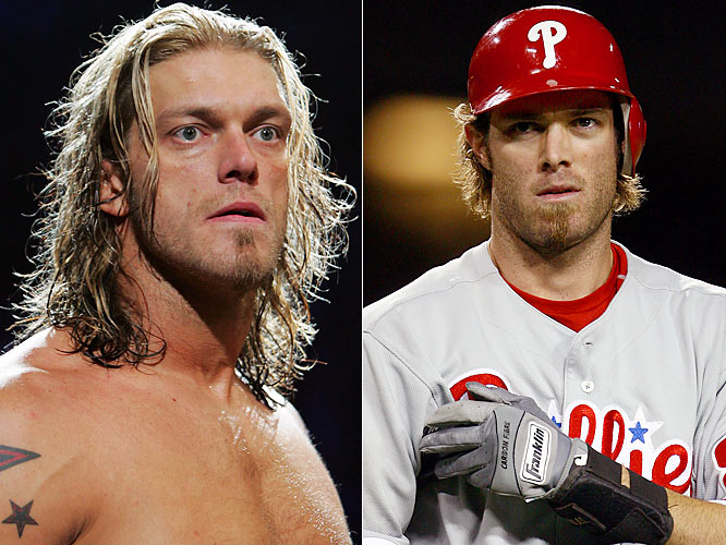 Werth, who was named an All Star this season, has recorded a handful of highlight-reel plays for the Phillies, including stealing home plate in May and hitting his first career walk-off homer in July.Edge (Adam Copeland) is one of the most decorated tag team champions in wrestling history, with 12 WWE titles. He also has appeared on MADTv, Deal or No Deal and The Weakest Link.