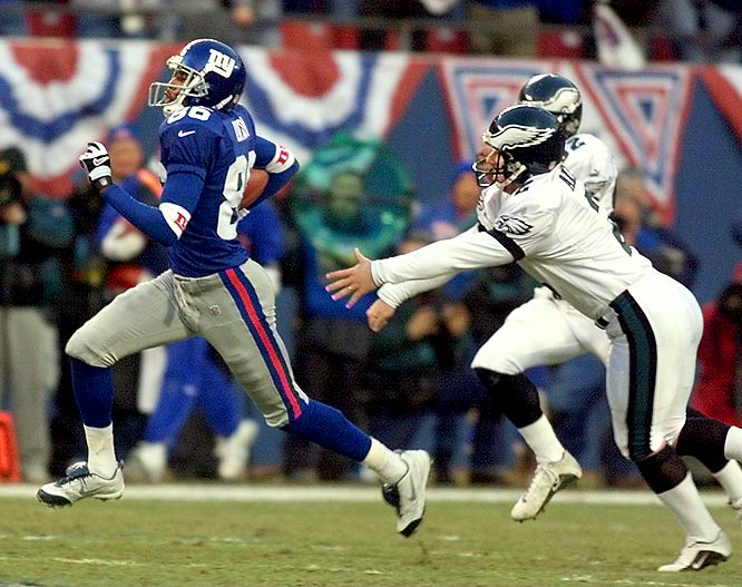 In January 2001, the Giants beat the Eagles in the divisional playoffs, winning 20-10.  In the first ever kickoff touchdown return for the Giants in playoff history, Ron Dixon returned the opening kickoff for a 97-yard TD.