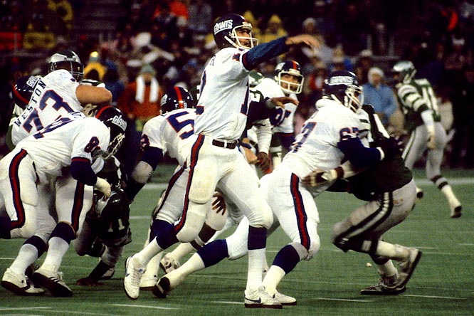 In 1981, quarterback Scott Brunner and the Giants traveled to the Vet and upset the defending NFC champions Eagles 27-21.  The wild-card playoff victory was the first time the Giants had made the playoffs since 1963.