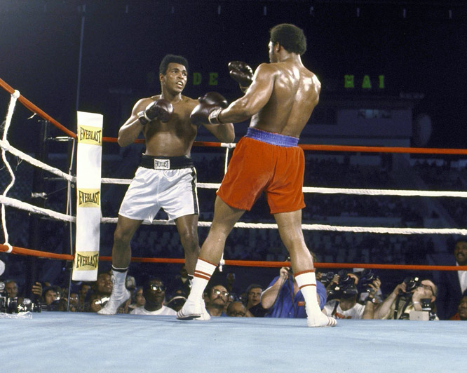 While Foreman was known for his power, Ali was known for his speed -- an asset he took advantage of with repeated right-hand leads in the opening round.