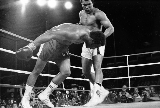 With his final combination in the eighth round, Ali delivered a left hook and a hard right to send Foreman to the canvas.
