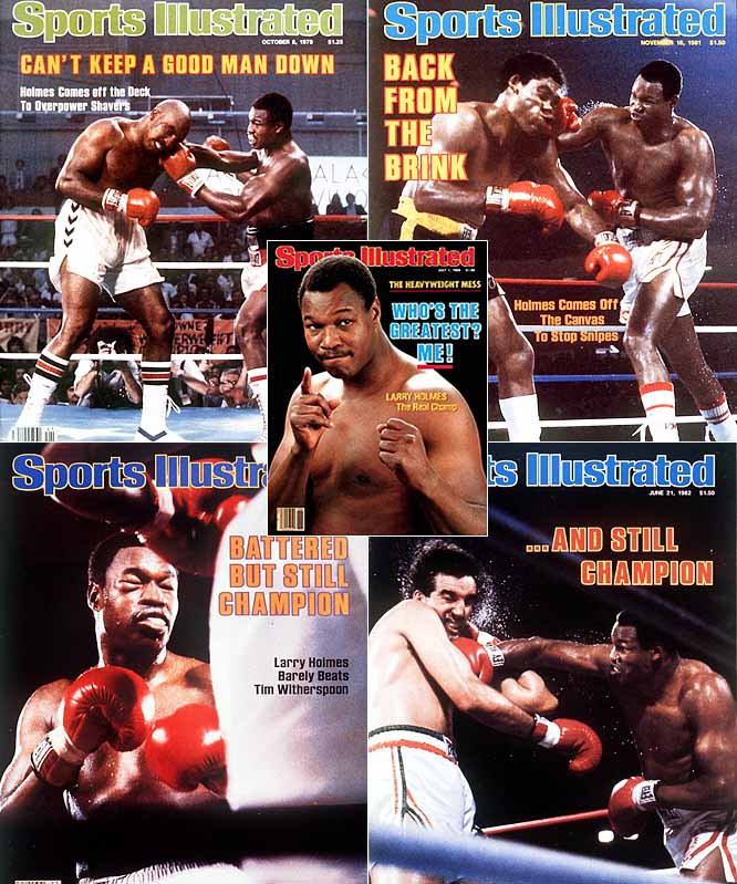 """His 20 successful title defenses are second only to Louis's 25. With an unmatched jab and tremendous ring smarts, Holmes described his crafty style by saying, """"You always got to make somebody drunk before you mug him."""""""