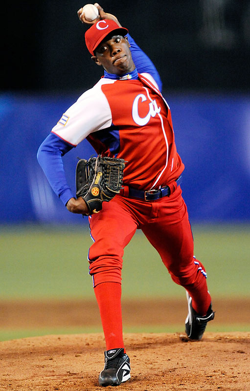 Chapman had a failed defection attempt in 2008, and was forced to meet with Cuban President Raul Castro, who suspended him fro the remainder of the National Series season. But he successfully defected in July of this year while the Cuba national team was participating in the World Port Tournament in Rotterdam, Netherlands. He has established residency in Andorra and is expected to garner a large major league contract in the next few months. The 21-year-old left-hander reportedly throws 100 miles per hour.