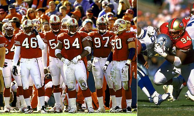 It's remarkable that after losing Jerry Rice to injury for 14 weeks in a season-opening 13-6 loss to Tampa Bay and Steve Young suffering yet another concussion the same game, the Niners rebounded and won their next 11. Give credit to a defense led by defensive tackle Dana Stubblefield (94), which held seven of the 11 victims to 12 points or fewer.