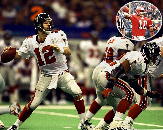 Quarterback Chris Chandler and running back Jamal Anderson helped the Falcons win their final nine in 1998, even with second-year head coach Dan Reeves missing Weeks 15 and 16 after undergoing quadruple bypass surgery. The winning ways continued all the way to the first Super Bowl appearance in franchise history, but ended with a 34-19 loss to the Broncos. The 1980 Falcons also won nine in a row, led by quarterback Steve Bartkowski (inset), and almost ran their streak to 10, but lost 20-17 in overtime to the Rams in the final regular season game of the year.