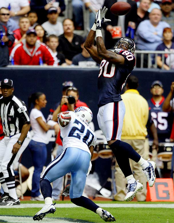The Texans' got their fourth in a row by upsetting, of all teams, the 12-1 Tennessee Titans at Reliant Stadium. Trailing 13-12 and facing fourth-and-3 with two minutes left, Tennessee passed up a 49-yard field goal attempt to try a fourth down pass. Houston got the ball back after the incompletion and ran out the clock.  Andre Johnson caught 11 passes for 207 yards and a touchdown in the game.Send comments to siwriters@simail.com