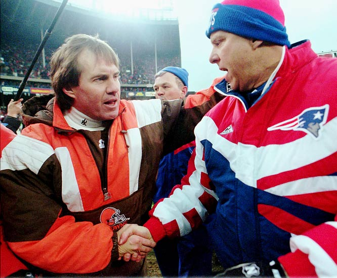 Browns coach Bill Belichick shakes hands with Patriots coach Bill Parcells after the Browns beat the Patriots 20-13 to win the AFC wild card game.