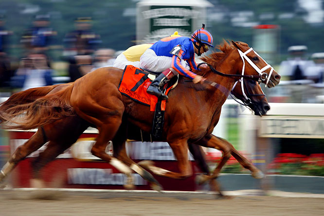 The filly Rags to Riches hung on to beat future two-time Horse of the Year Curlin in a stirring duel down the long homestretch. She became the first filly in more than 100 years to win the Belmont, but Curlin distinguished himself even in defeat, flashing the toughness and stamina that marked his career.