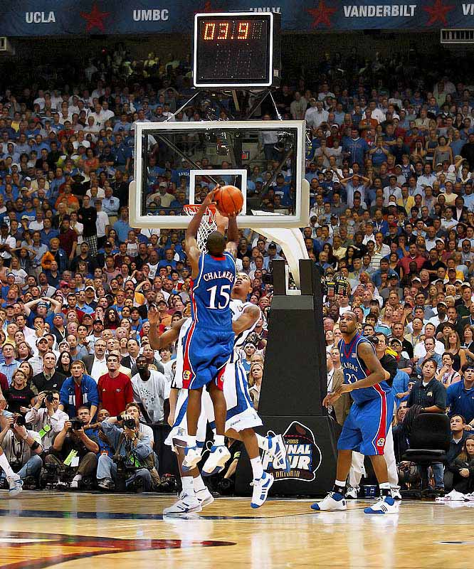 The first Final Four to feature all four No. 1 seeds was a dud on semifinal Saturday, but championship Monday more than made up for it. Sparked by freshman Derek Rose, Memphis led by nine with just over two minutes left, but Kansas made a furious rally and tied the game on a fading three-pointer by Mario Chalmers with 2.1 seconds left. That shot set up the first overtime title game in 11 years and only the third since 1964. The Jayhawks controlled the extra period and salted away the game by doing the one thing the Tigers could not do in regulation -- make free throws in the final seconds.