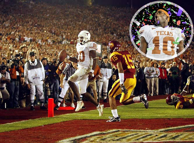 Before this game, no one wondered if Texas would win. All the pregame talk centered on where USC would fall in the pantheon of all-time great teams after its inevitable victory. Apparently, no one told Longhorns quarterback Vince Young, who dueled Heisman Trophy winners Matt Leinart and Reggie Bush for most of the night. With Texas trailing by five late, the Longhorns faced fourth-and-five from the USC eight. Young noticed USC defensive end Frostee Rucker had crashed inside, so Young raced right. He crossed the goal line with 19 seconds remaining, and added the two-point conversion to complete the best individual performance of the BCS era.