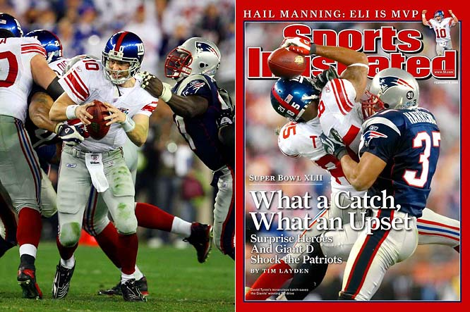 The 2008 Super Bowl was a defensive struggle through three quarters, with the teams combining for only 10 points. But the drama began to build in the fourth quarter when it was apparent that New York might actually deny New England a place in history. The Patriots were seeking to become the first 19-0 team, but a New York pass rush sacked Tom Brady five times and harassed him countless others. David Tyree's 32-yard reception with a minute to play -- after an improbable third-down escape of a sack by Eli Manning -- set up Manning's winning 13-yard score to Plaxico Burress with 35 seconds to play. Tyree's helmet catch is arguably the most memorable play in Super Bowl history.