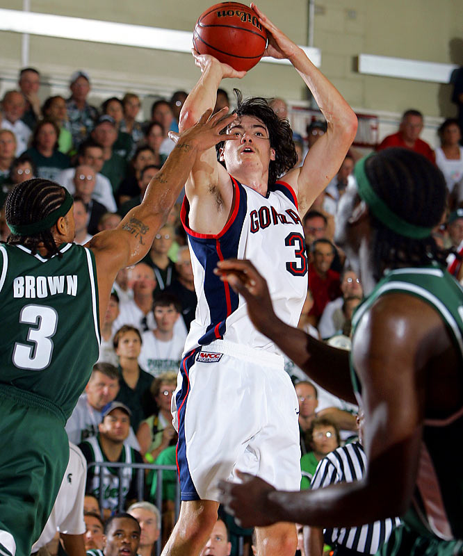 This was classic March Madness ... in November. In the quarterfinals of the Maui Invitational, Gonzaga's Adam Morrison scored a tournament-record 43 points; Michigan State's Maurice Ager countered with 36, including a game-tying three at the buzzer in regulation. The lead changed hands 13 times in the final 7:30 of regulation, including four in the final 1:14.