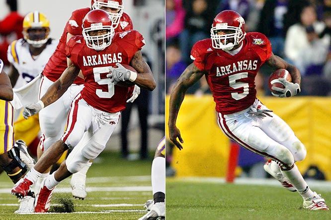 LSU learned how dangerous Arkansas tailback Darren McFadden could be when he ran for 182 yards and two touchdowns in a 31-26 LSU win in 2006. But the Tigers couldn't develop a scheme to stop McFadden during the offseason. In the 2007 meeting, McFadden ran for 206 yards and three touchdowns and also threw for a score as the Razorbacks stunned the eventual national champs with a 50-48, triple-overtime win.