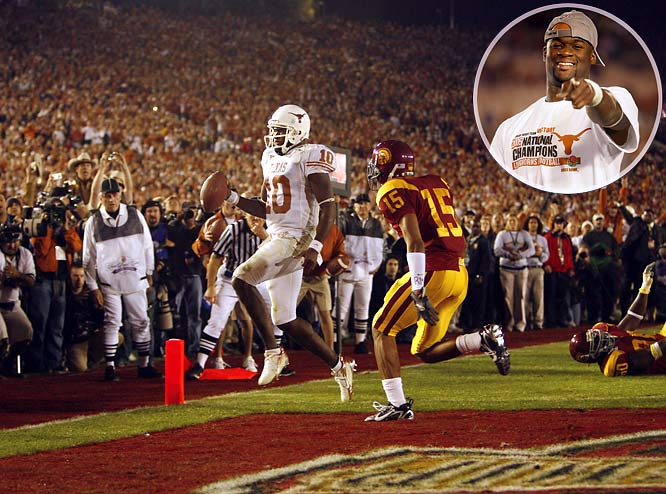 "No one has ever played a better game on college football's grandest stage. The Texas quarterback threw for 267 yards, ran for 200 more and accounted for three touchdowns as the Longhorns stunned USC 41-38 to win the 2005 national title. Young's final touchdown came on an eight-yard run on fourth down late in the fourth. ""I wasn't nervous at all when the ball was in his hands in the fourth quarter,"" Texas defensive tackle Rodrique Wright said, ""because I knew he was going to get it done."""