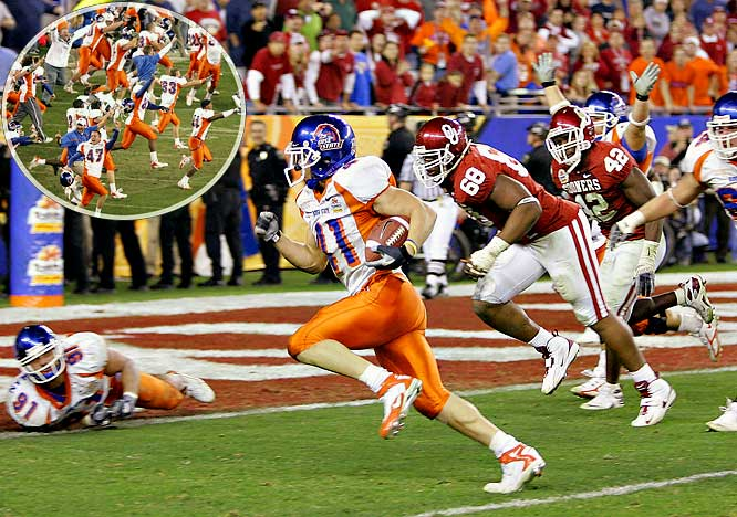 Many questioned whether Boise, playing an oft-ridiculed schedule, deserved its No. 9 ranking and BCS berth. The Broncos needed three Fiesta Bowl miracles to prove they did. Boise built a 28-10 lead through three-plus quarters, but 25 unanswered points from the Sooners, including 15 in the final 1:26 of regulation, quickly turned that into a 35-28 deficit. With seven seconds left and its upset bid seemingly over, Boise converted a 50-yard hook-and-ladder player to force overtime. The Sooners scored first, but Boise answered on a fourth-down touchdown pass from wide receiver Vinny Perretta, then gambled its season by attempting a two-point conversion for the win. The successful Stature of Liberty play sealed a great upset and classic game.