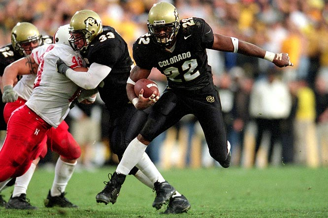 Colorado entered the game having lost its last nine contests against Nebraska. This time, though, the Buffs bested the Cornhusker's Blackshirts D, racking up 380 rushing yards and 582 total yards. Colorado registered three early scores, and after that the Chris Brown show began. The tailback registered rushing touchdowns of 12, one and 36 yards before the half, then put the game away by scoring three more touchdowns over a 189-second span in the fourth quarter. The 'Huskers didn't have long to sulk, though; Colorado went on to upset Texas in the Big 12 title game, catapulting Nebraska back into the championship mix.
