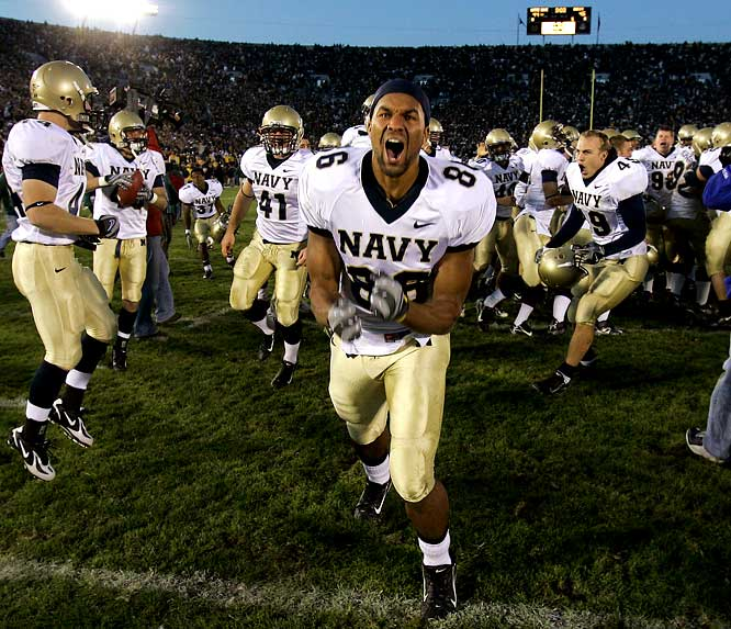 All sports have their streaks. Joe DiMaggio hit safely in 56 straight games. The Tampa Bay Buccaneers lost their first 26 contests. And, beginning in 1963, Notre Dame beat Navy on the gridiron 43 straight times. But in 2007, with the Irish off to a shocking 1-7 start and desperate for a W, the automatic string of victories ceased. Notre Dame had done little to generate confidence in its first eight games, but even after losses to its two other biggest rivals, Michigan and USC, a loss to Navy seemed incomprehensible. After trading scores all game, the Midshipmen completed their two-point conversion attempt in the third OT; the Irish did not. The longest winning streak by one team over another in college football history ended.
