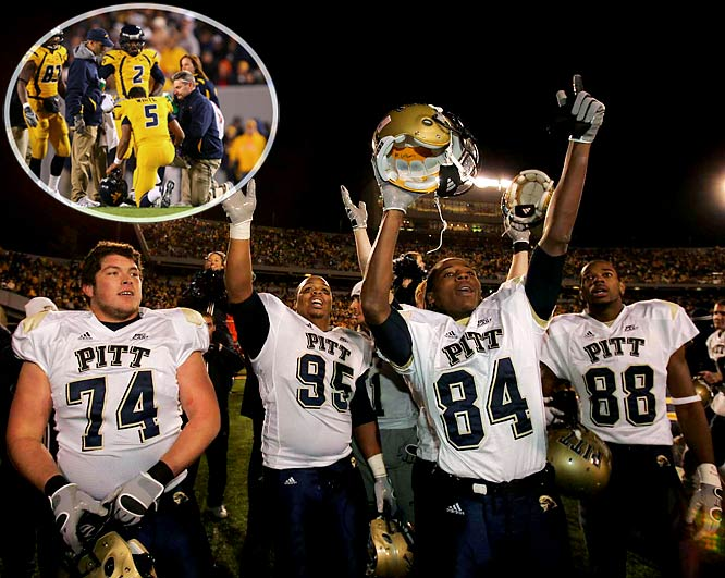 Pitt was out of bowl contention. West Virginia stood poised for a national title-game berth. The No. 2 Mountaineers entered the 100th Backyard Brawl as 28-point favorites, but the Season of the Upset had one curveball left to throw. The offensively potent Mountaineers squandered two early scoring opportunities, missing short field goals, and lost all chance at regaining their mojo when quarterback and sparkplug Pat White dislocated his thumb in the second quarter. The group that came in averaging 42 points managed just nine on a season-low 183 total yards, and became the sixth No. 2 team to fall that season. The loss opened the door for Ohio State to play for the national title, and forced West Virginia to settle for the consolation prize, the Fiesta Bowl.