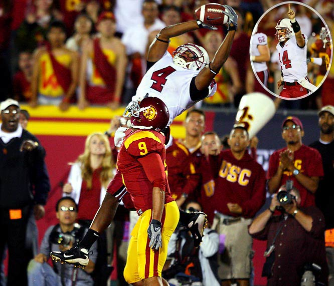 By now, USC's habit of losing a game it shouldn't to an inferior Pac-10 team has become old hat. But when 41-point underdog Stanford knocked off No. 2 USC in Los Angeles, it shocked the football world. With time winding down, Cardinal QB Tavita Pritchard faced a critical fourth-and-20. But with some 85,000 Trojans fans roaring, Pritchard, making his first career start, couldn't hear the play call. Improvising, he connected with Richard Sherman to keep the drive alive. He found fourth down magic again with 49 ticks left, connecting with Mark Bradford for the winning score.