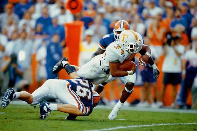 When the nation's No. 4 team beats the nation's No. 2 team, it rarely qualifies as an upset worth remembering. But the Florida-Tennessee rivalry doesn't always obey the rules. When the fourth-ranked Volunteers traveled to the Swamp to take on the second-ranked Gators in 2001, they did so preparing to conquer two foes: Florida, and history. The Gators controlled their own national title-game destiny, but Tennessee's Travis Stephens ran for 226 yards and two scores and the Vols stopped the Gators' two-point conversion attempt with 70 seconds remaining, securing their first win in Gainesville since 1971.