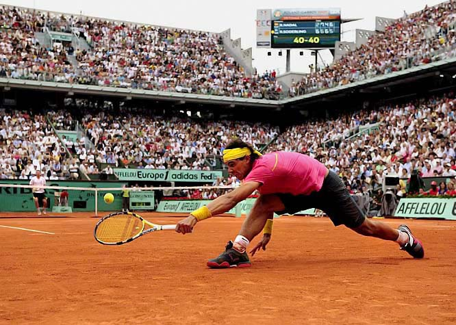For 31 matches, dating to his debut on May 23, 2005, Nadal never truly was challenged, much less defeated, at the French Open, winning four consecutive titles and closing in on becoming the first player with five in a row. But in the fourth round this year, the 23rd-seeded Soderling, a 24-year-old underachiever from Sweden who never had won so much as a third-round match at any major tournament before this one, defeated Nadal 6-2, 6-7 (2-7), 6-4, 7-6 (7-2). Soderling finished with 61 winners, 28 more than Nadal.