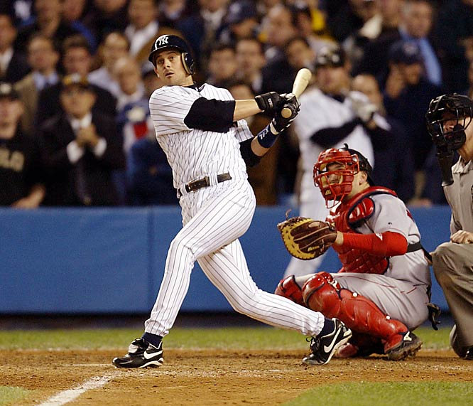 The rivals combined for six AL pennants and four world championships in the `00s, and their first postseason confrontation of the decade lived up to the hype. Upstaging Roger Clemens, Pedro Martinez got the Red Sox within five outs of the pennant, but Boston manager Grady Little was too slow with his hook and the Yankees, buoyed by a pair of Jason Giambi homers and three scoreless innings of relief from Mike Mussina, rallied to tie it in the bottom of the eighth. Mariano Rivera pitched three scoreless innings of his own before Aaron Boone finally won the pennant with a walk-off home run off Tim Wakefield on the first pitch of the bottom of the 11th.